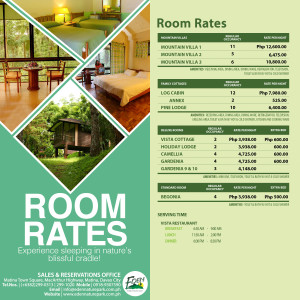Eden Nature Park Room Rates Accommodation 2015