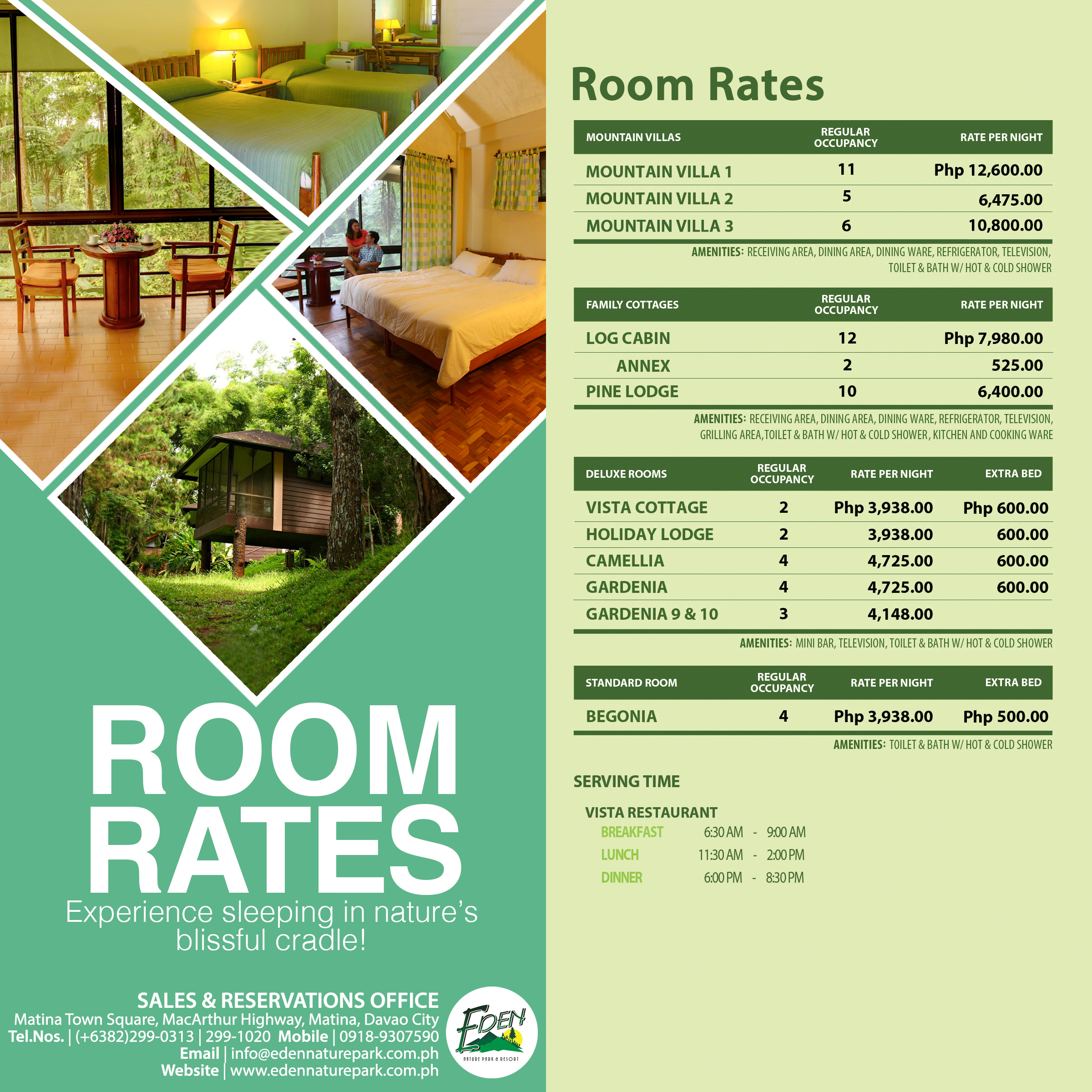 Eden Nature Park Room Rates